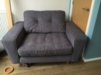 DFS Bennet cuddler chair - grey fabric