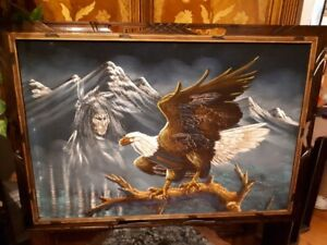 Native Art - Eagle and Warrior Spirit - 40 x 27.5 inches