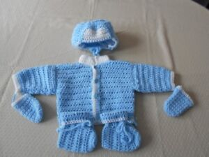 BRAND NEW HAND CROCHETED BABY 3pc & 4pc SWEATER SETS