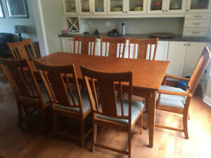 Large Mission Style dining room table set with 8 chairs