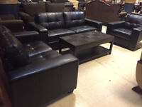Liquidation red dark brown sofa set
