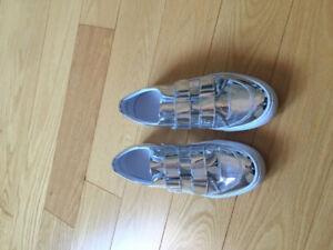 Zara Silver Velcro Loafers Size 6
