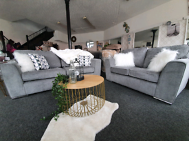 NEW Grey Martine 3 + 2 Seater Sofa Suite Suite DELIVERY AVAILABLE