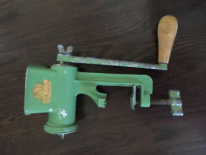 Antique Meat Grinder Kitchen Display 50's Green Counter Make Old