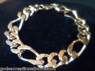Mens Gold Figaro Bracelet -  MENS 14K GOLD & BZ  BIG  FIGARO BRACELET SZ 8.5 INCH  ITALIAN 45 GR ADJUSTABLE
