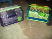 Two Hamster Cages, wheel and dish