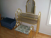 BRASS  VANITY  /  MAKEUP    TABLE  --  WITH  MIRROR  AND  CHAIR