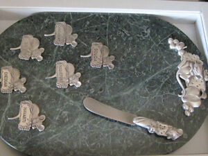 Heavy Green Marble + Pewter Cheese Tray, 6 Signs, Knife in Box Oakville / Halton Region Toronto (GTA) image 4