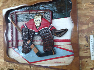 MONTREAL CANADIAN GOALIE WOOD PAINTING LOCAL ARTIST