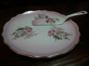 FINE BONE CHINA CAKE PLATE SET, OLD FOLEY, PINK ROSES