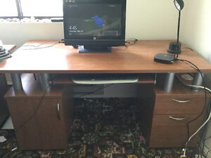 Pedestal desk and office chair.