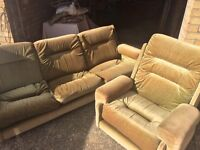 Vintage G Plan 3 seater sofa and armchair