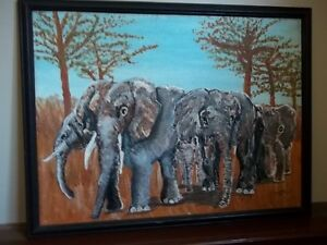 Wonderful Painting of African Elephants