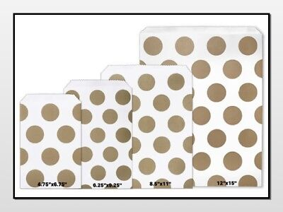 Gold Polka Dots Flat Paper Merchandise Bags Choose Size & Package Amount - Flat Paper Bags