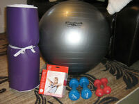 Exercise Ball, Hand Weighs, Resistance Tubing, Yoga Mat