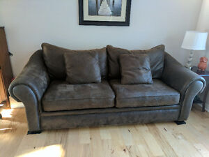 Brown microsuede sofa -good condition