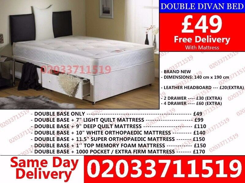 BRAND NEW SMALL DOUBLE DIVAN BEDFargoin Southfields, London - wow today 50%off For Placing An Order Please Call