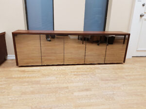 Walnut and Bronze Mirror Wall Hung Cabinet