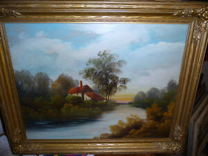 "Vintage Oil Painting, ""Early Morning River"" 1920's"
