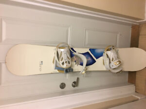 Woman's Burton Snowboard, firefly bindings and boots
