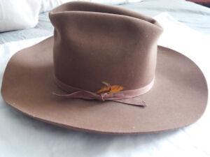 Vintage Keyston DeLuxe Dynafelt Fur Blend Brown Cowboy Hat