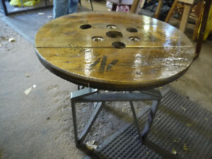 round hydro spool top table. solid wood metal base London Ontario image 6
