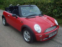 2005 55 Plate Bmw Mini 1.6 One Convertible In Red With Black Hood , Only 50k