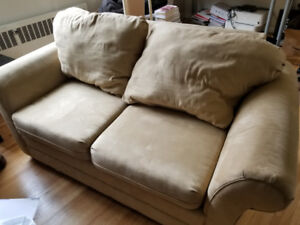 BEIGE ULTRASUEDE COUCH- GREAT STARTER COUCH