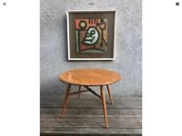 Vintage 1960s ERCOL Drop-leaf Coffee Occasional Side Table 'Half-Moon' Model 308