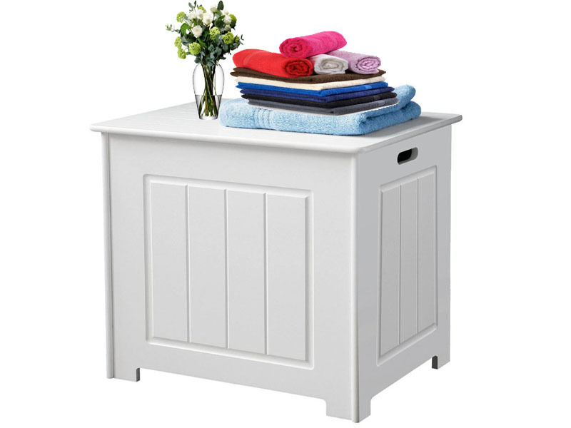 Bathroom Wooden Storage Box Basket Chest Corner Cabinet Cupboard Laundry White Ebay