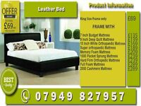 SINGLE , KINGSIZE , SMALL DOUBLE , DOUBLE LEATHER Bed WITH Mattress