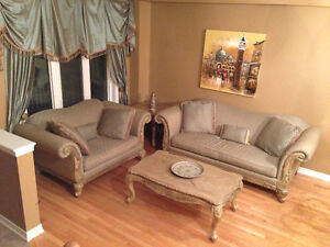 Custom Made Sofa and Silk Curtain Set + Coffee and End Tables