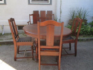 Antique Dining Set-Table, 3 Leaves 6 Chairs- Strathroy Furniture