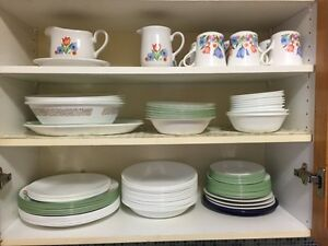 Dishes pots glasses