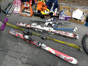 Ski boots and boards for kids and teenagers.