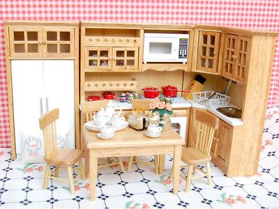 Dolls House Kitchen Rooms Mini Wooden Furniture Kit Porcelain Tea Set 1/12