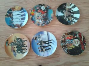 """6 Bradford Exchange """"Beatles Plates"""" original boxes and papers"""