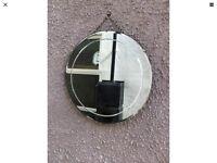 Large Frameless Round Antique Art Deco Wall Beveled Edge Mirror 46cm Diameter