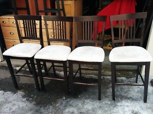 Set Of FOUR Solid Wood Bar/Counter Height Stools