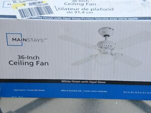 36 inch white ceiling fan brand new in box