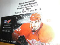 4 NHL Tickets for Detroit Red Wings at Hm vs New york Rangers