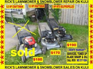 5.5 HP CRAFTSMAN, 5HP SELFPROPELLED ALL LAWNMOWERS ARE SERVICED