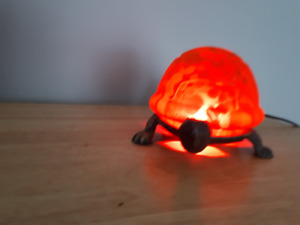 Collector Turtle Lamp Made of Amber Glass and Metal