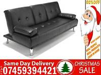 50% Off BRAND NEW 3 SEATER LEATHER SLEEPER SOFA BED SETTEE WITH CUPHOLDER