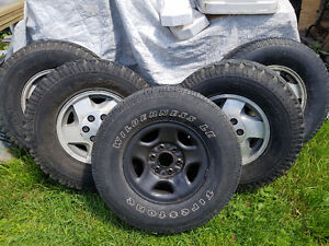 """SOLD - GM 16"""" 6-Bolt Rims and Tires LT265/75R16 M+S"""