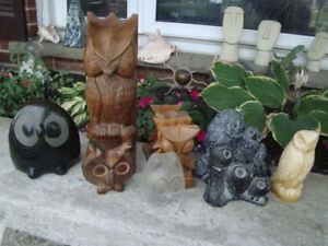 Assortment of Nine Vintage Owls