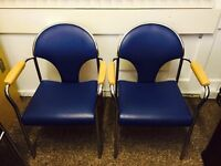 4 Blue Leather arm chairs - BARGAIN - CLEAR OUT