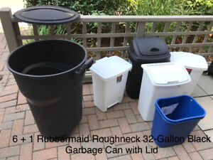 6 + 1 Rubbermaid Roughneck 32-Gallon Black Garbage Can with Lid