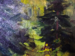 """Original Oil Painting by Blanche Ducharme """"Peaceful Pond"""" 1960's Stratford Kitchener Area image 8"""