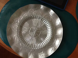 Vintage hammered  /  stamped aluminum tray  with relish dish